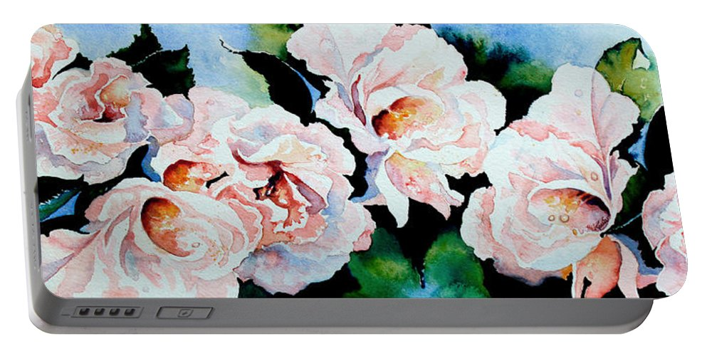 Pink Roses Portable Battery Charger featuring the painting Garden Roses by Hanne Lore Koehler