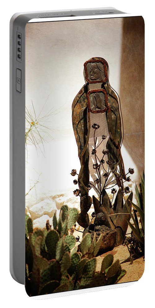 Mission Portable Battery Charger featuring the photograph Garden Saint by Nancy Forehand