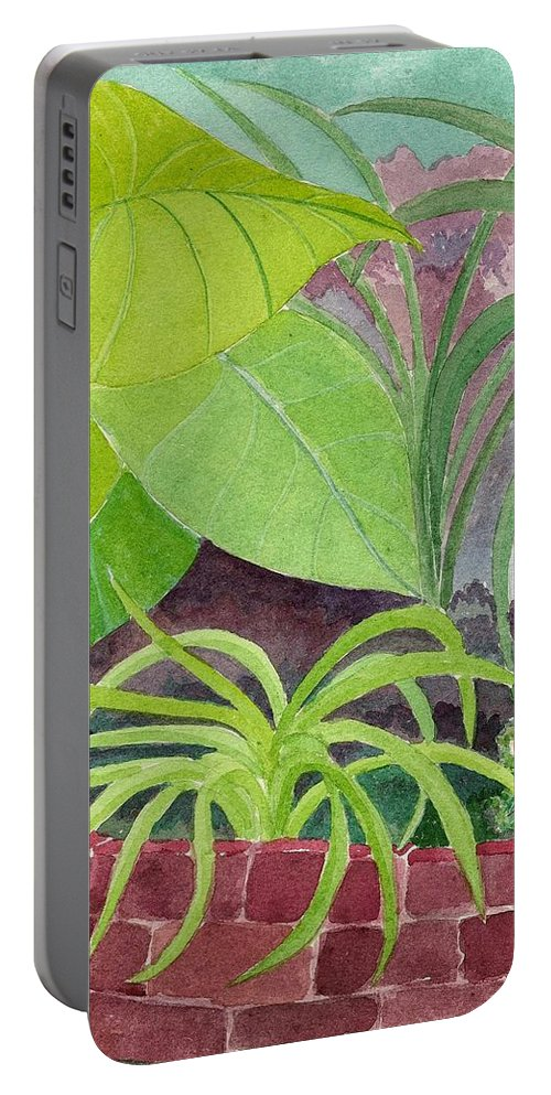 Garden Portable Battery Charger featuring the painting Garden Scene 9-21-10 by Fred Jinkins