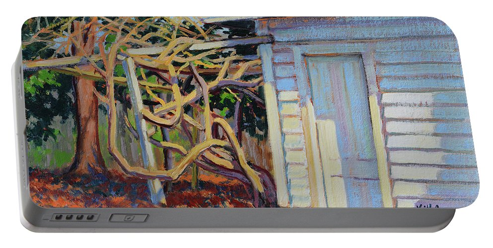 Impressionism Portable Battery Charger featuring the painting Garden Shed by Keith Burgess