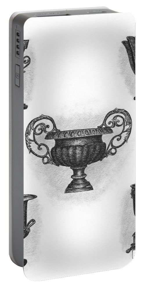 Black Portable Battery Charger featuring the drawing Garden Urns by Adam Zebediah Joseph