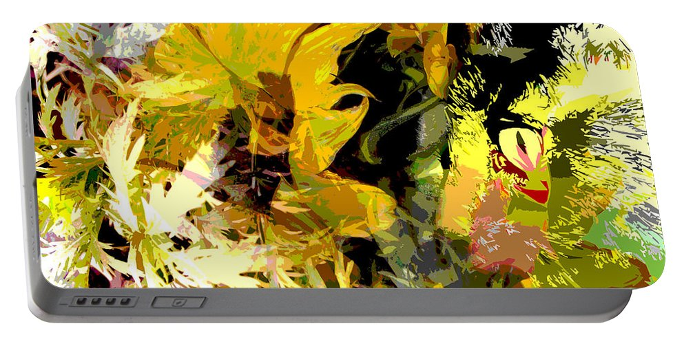 Abstract Portable Battery Charger featuring the mixed media Garden Variety Cat by Ruth Palmer