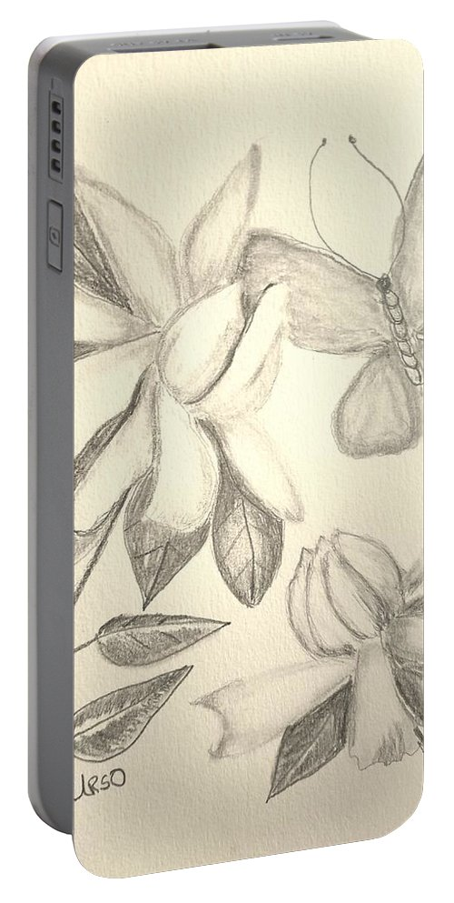 Gardenia Drawing Portable Battery Charger featuring the drawing Gardenia Drawing 1 by Maria Urso