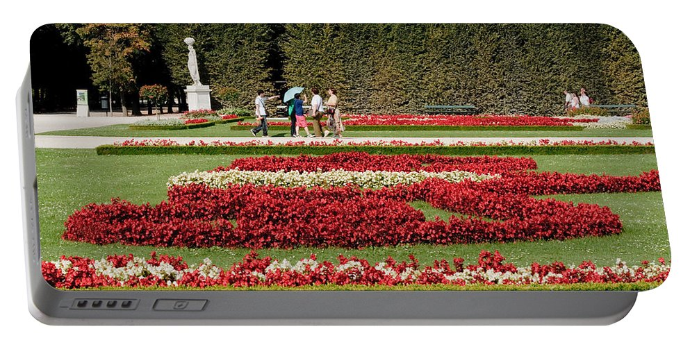 Schonbrunn Palace Hapsburg Vienna Austria Castle Garden Portable Battery Charger featuring the photograph Gardens Of The Schloss Schonbrunn Vienna Austria by Thomas Marchessault
