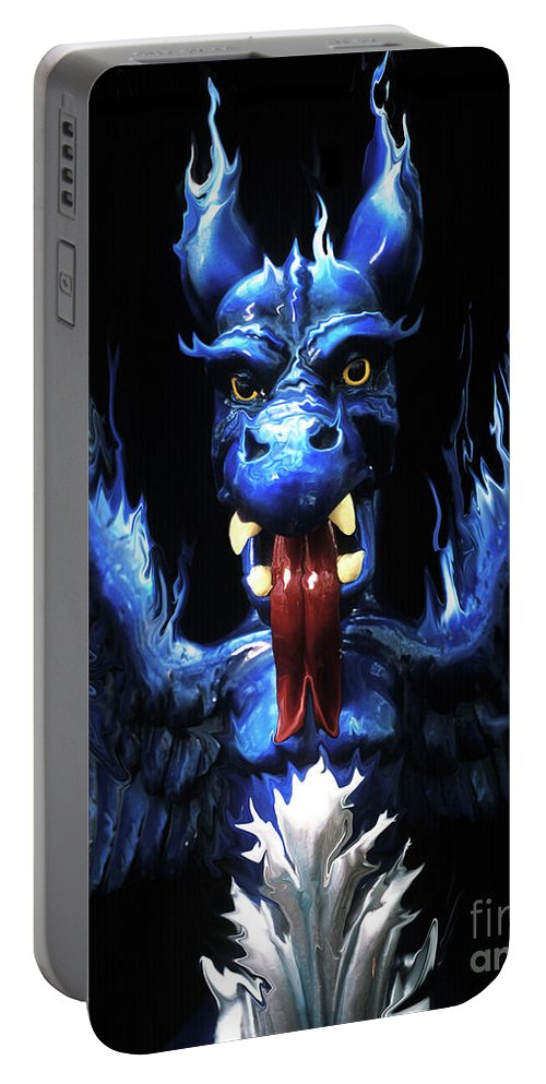 Blue Portable Battery Charger featuring the photograph Gargoyle by Jim And Emily Bush