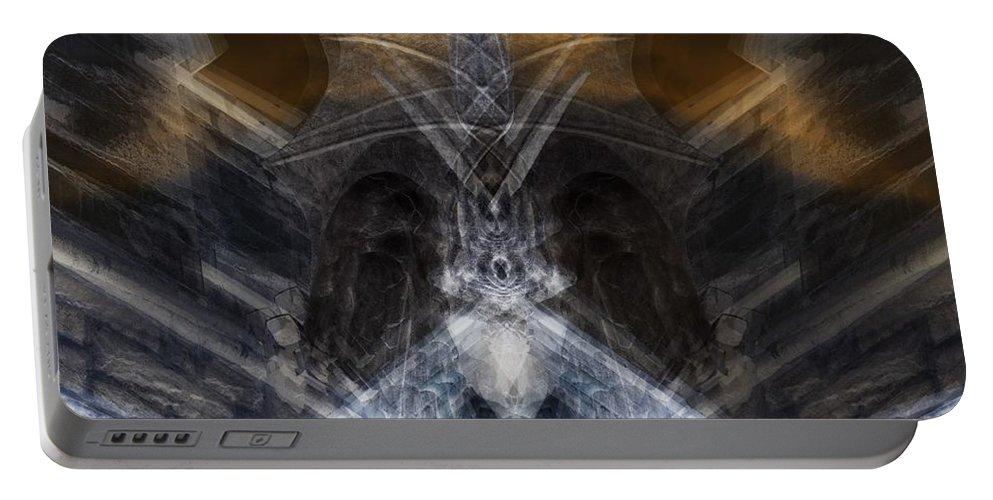 Gargoyle Portable Battery Charger featuring the digital art Gargoyle Priestess by Deemarie Valenza