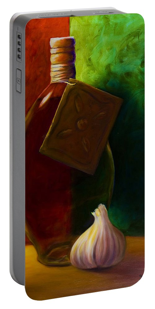 Shannon Grissom Portable Battery Charger featuring the painting Garlic And Oil by Shannon Grissom