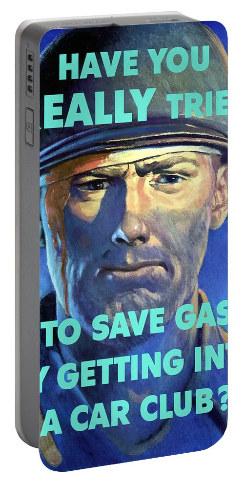 Wounded Soldier Portable Battery Charger featuring the painting Gas Conservation Ww2 Poster by War Is Hell Store