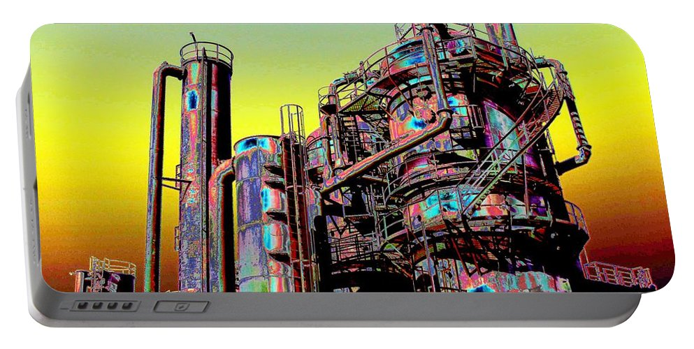 Seattle Portable Battery Charger featuring the digital art Gasworks Park 1 by Tim Allen