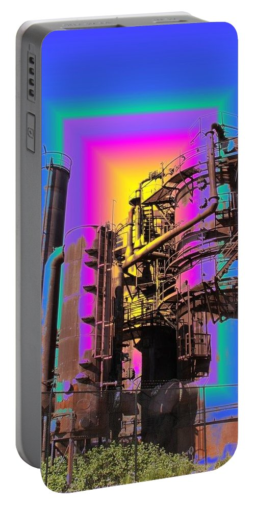 Seatttle Portable Battery Charger featuring the digital art Gasworks Park 2 by Tim Allen