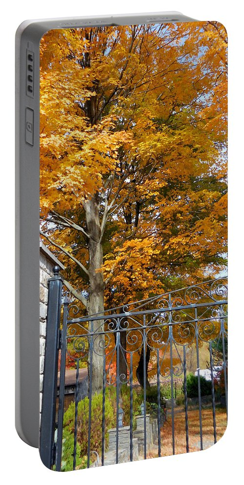 Gate And Driveway Portable Battery Charger featuring the painting Gate And Driveway 1 by Jeelan Clark