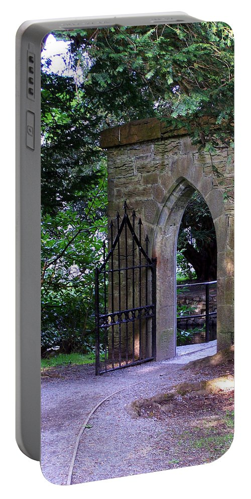 Irish Portable Battery Charger featuring the photograph Gate At Cong Abbey Cong Ireland by Teresa Mucha
