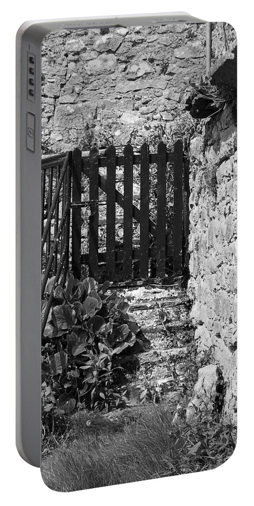 Irish Portable Battery Charger featuring the photograph Gate at Dunguaire Castle Kinvara Ireland by Teresa Mucha
