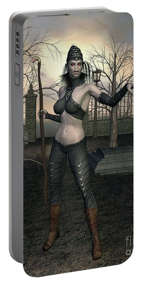Demon Portable Battery Charger featuring the digital art Gate Keeper by John Junek