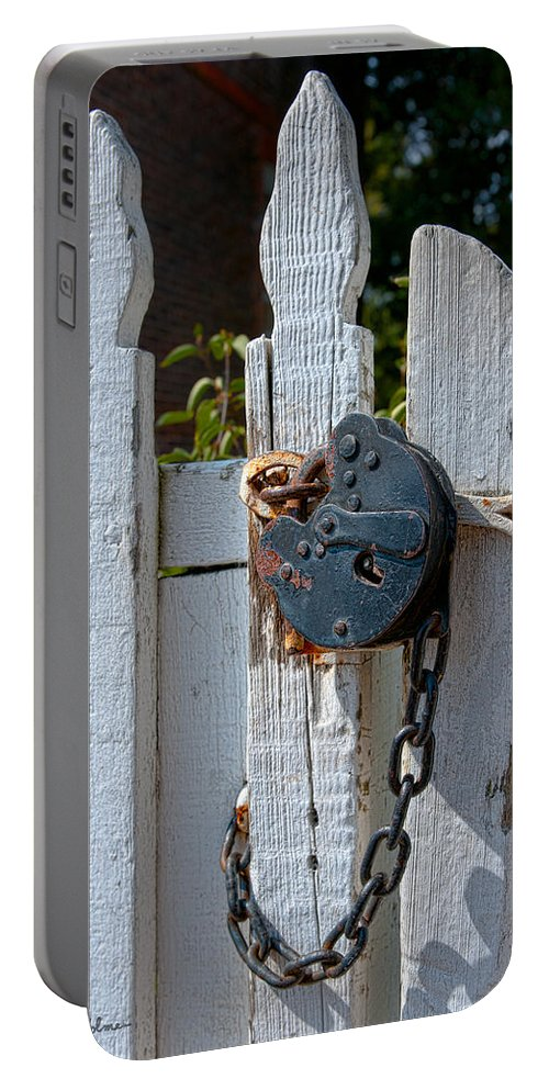 Gate Portable Battery Charger featuring the photograph Gate Secured by Christopher Holmes