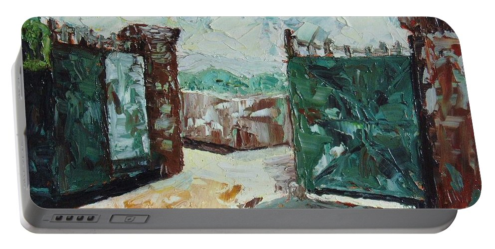 Gate Oil Canvas Portable Battery Charger featuring the painting Gate2 by Seon-Jeong Kim