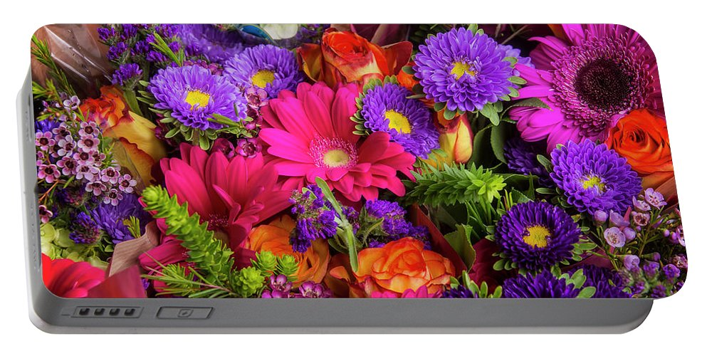 Rose Portable Battery Charger featuring the photograph Gathered Garden Flowers by Garry Gay