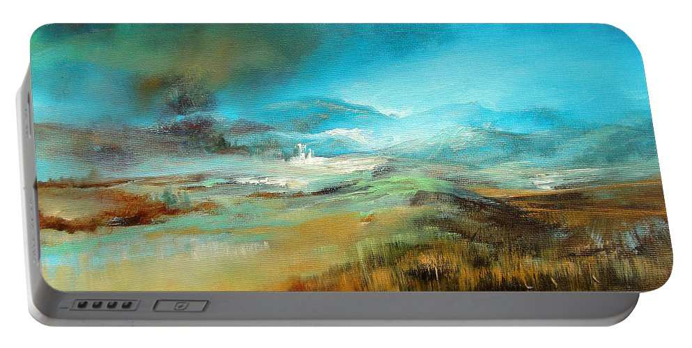 Landscape Portable Battery Charger featuring the painting Gathering Storm by C J Elsip