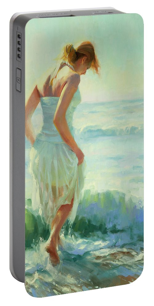 Seashore Portable Battery Charger featuring the painting Gathering Thoughts by Steve Henderson