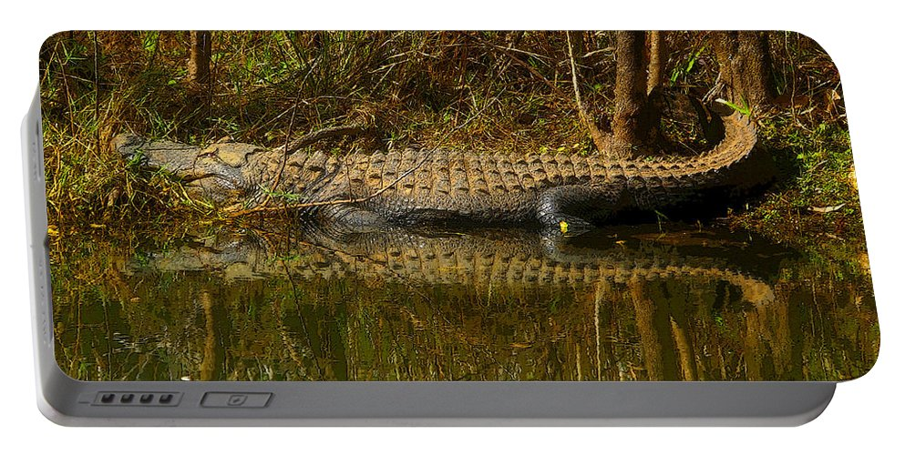 Art Portable Battery Charger featuring the painting Gator Relection by David Lee Thompson