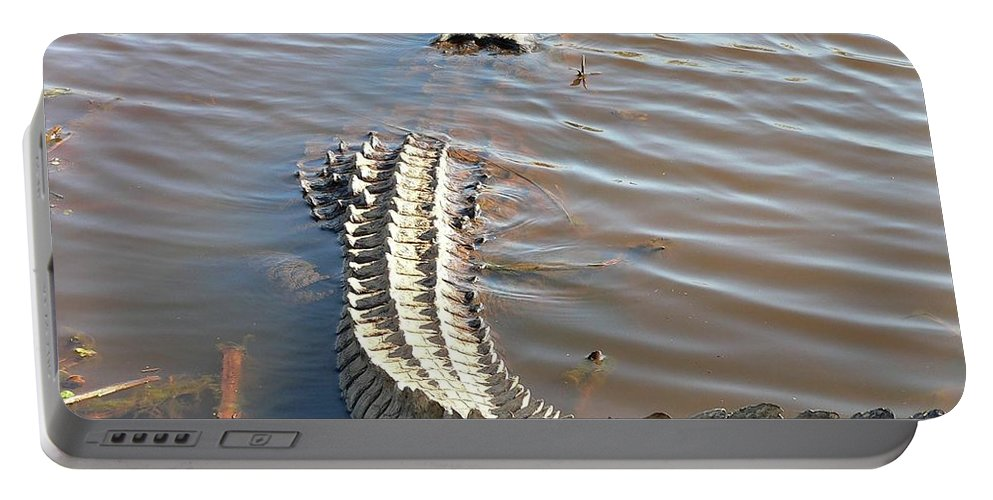American Alligator Portable Battery Charger featuring the photograph Gator Tail by Al Powell Photography USA