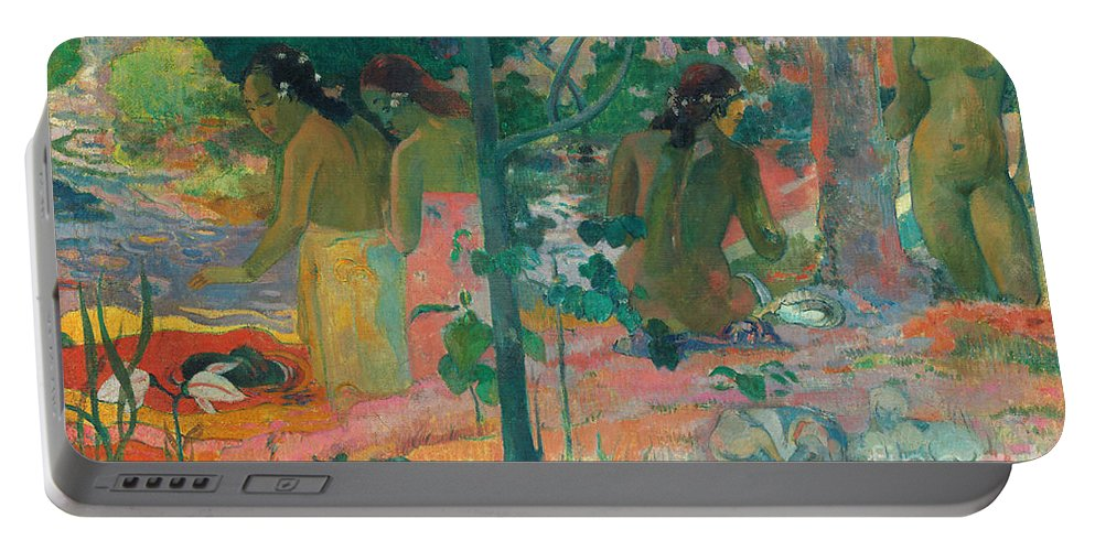 1898 Portable Battery Charger featuring the painting Gauguin, Bathers, 1898 by Granger