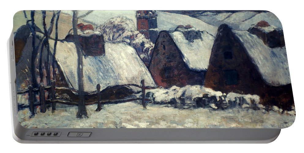1903 Portable Battery Charger featuring the painting Gauguin: Breton Village by Granger
