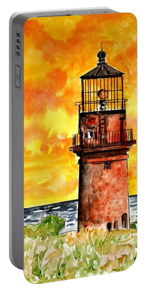 Beach Portable Battery Charger featuring the painting Gay Head Lighthouse Martha's Vineyard by Derek Mccrea