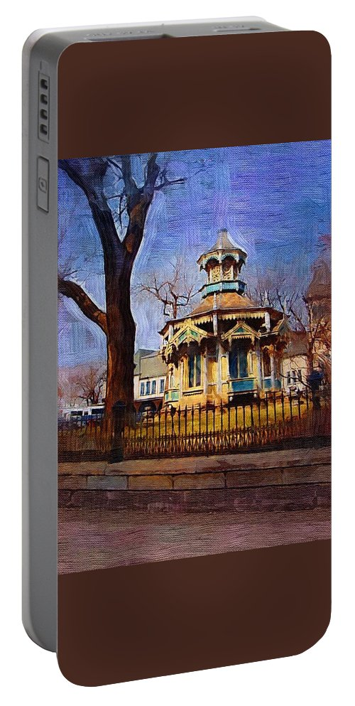 Architecture Portable Battery Charger featuring the digital art Gazebo And Tree by Anita Burgermeister
