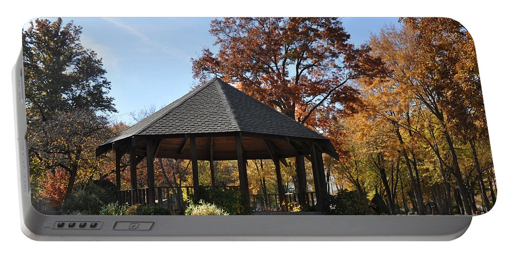 North Ridgeville Portable Battery Charger featuring the photograph Gazebo At North Ridgeville - Autumn by Mark Madere