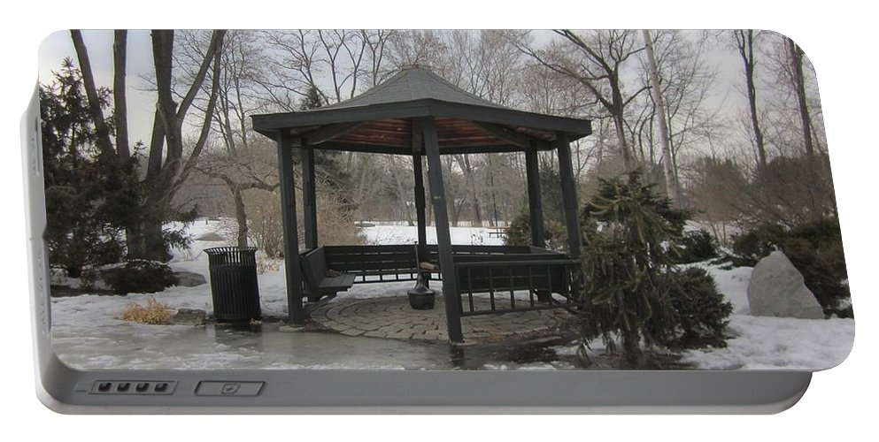 Gazebo Portable Battery Charger featuring the photograph Gazebo On Ice by MTBobbins Photography
