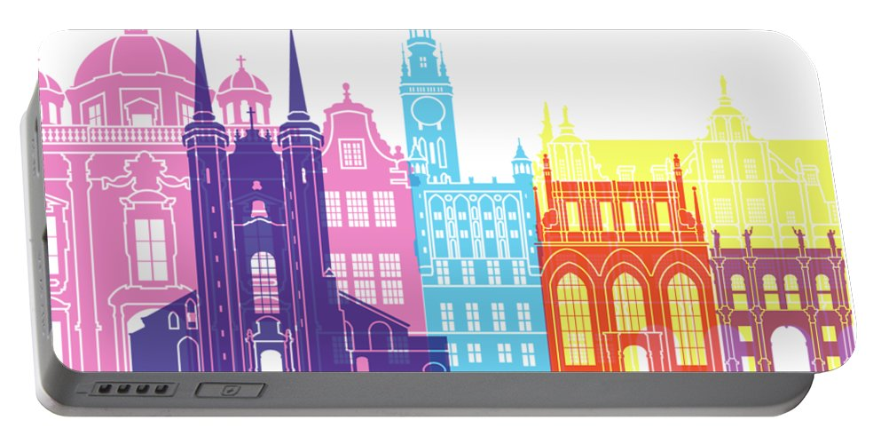 Gdansk Portable Battery Charger featuring the painting Gdansk Skyline Pop by Pablo Romero