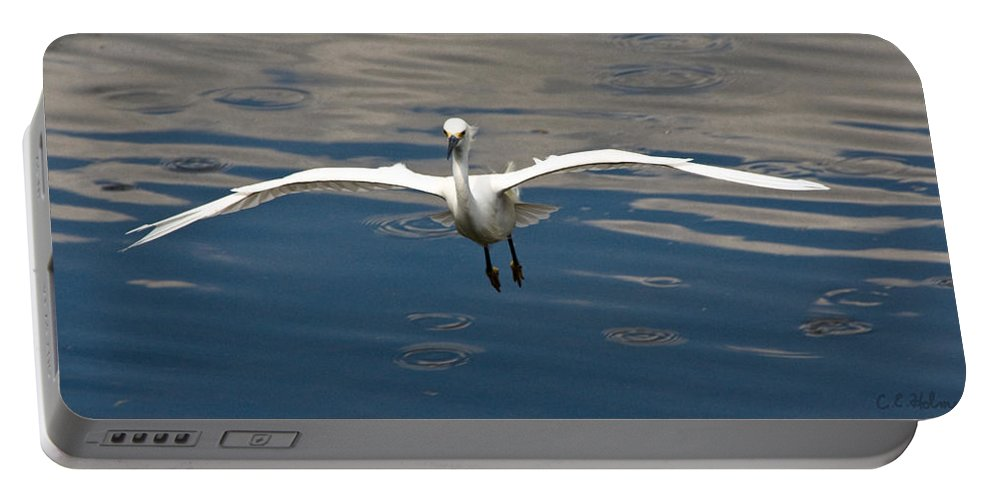 Snowy Egret Portable Battery Charger featuring the photograph Gear Down by Christopher Holmes