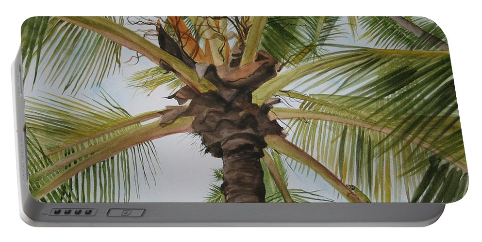 Palm Tree Portable Battery Charger featuring the painting Gecko Heaven by Jean Blackmer