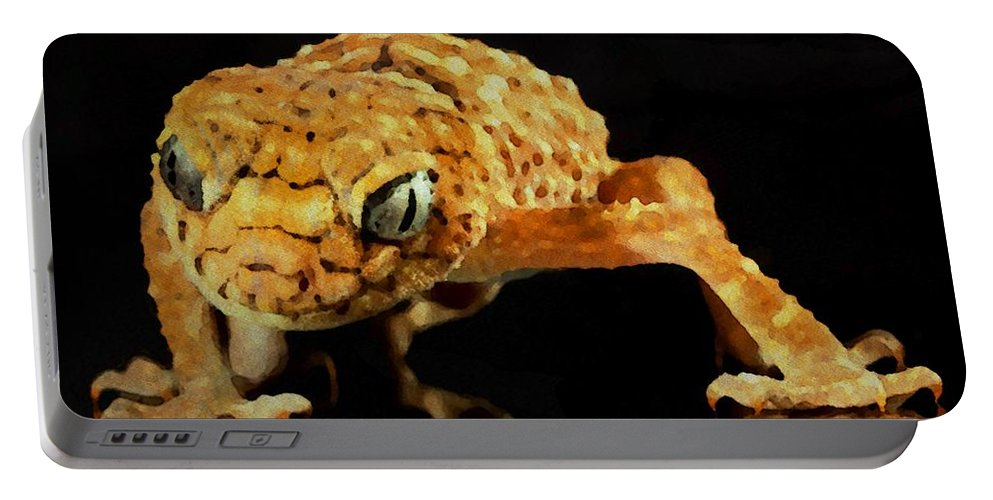 Gecko Portable Battery Charger featuring the painting Gecko - Id 16218-130646-3343 by S Lurk