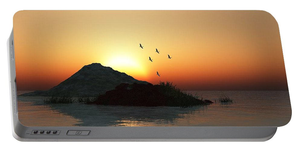 Digital Painting Portable Battery Charger featuring the digital art Geese And Sunset by David Lane