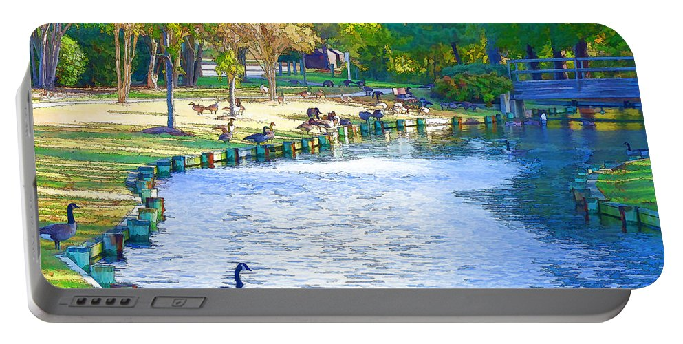 Destination Portable Battery Charger featuring the painting Geese In Pond 3 by Jeelan Clark