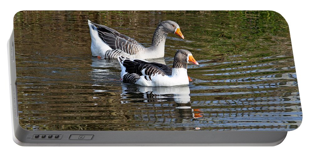 Ripples Portable Battery Charger featuring the photograph Geese On The Canal  by Rod Johnson