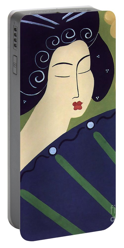 #japanese Portable Battery Charger featuring the painting Geisha Doll by Jacquelinemari