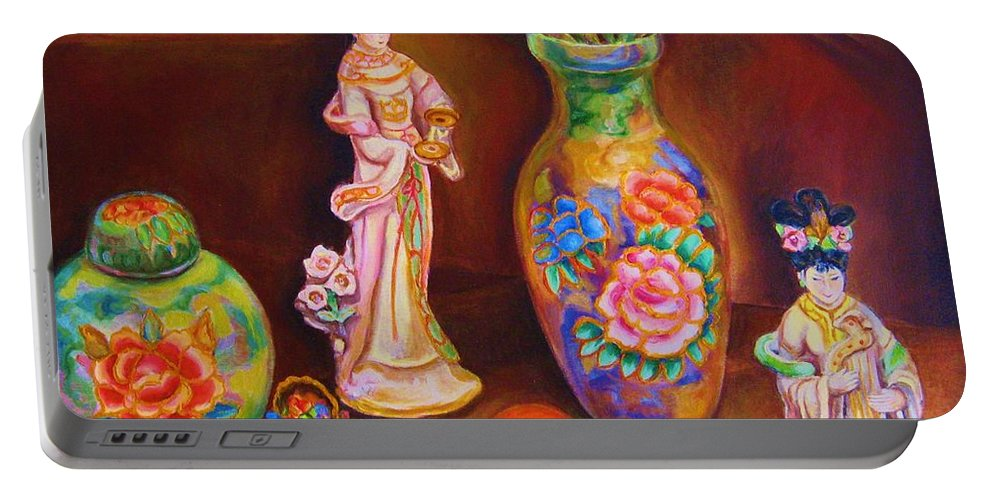 Geishas Portable Battery Charger featuring the painting Geisha Dolls by Carole Spandau