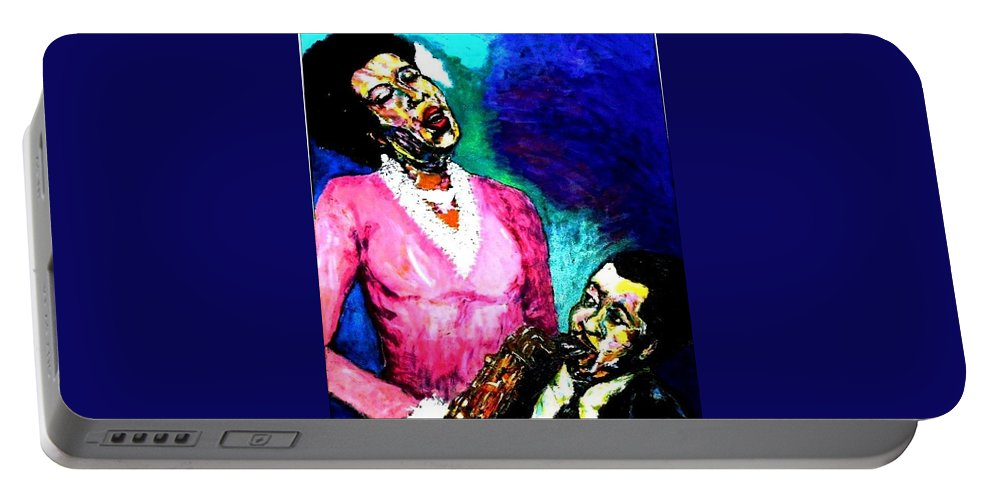 Jazz Portable Battery Charger featuring the painting Gemelos Del Alma-- Soul Mates by Jason Hampton