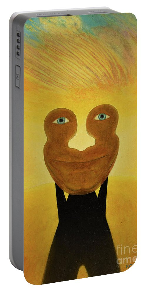 Face Portable Battery Charger featuring the painting Gemini. Self-portrait by Oleg Konin