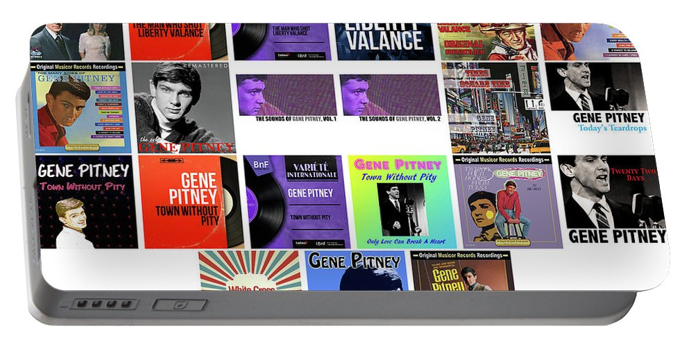Gene Pitney Portable Battery Charger featuring the mixed media Gene Pitney 4 by Smart Aviation
