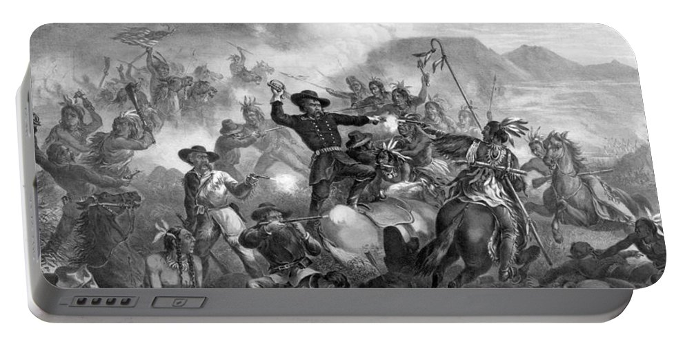 General Custer Portable Battery Charger featuring the drawing General Custer's Death Struggle by War Is Hell Store