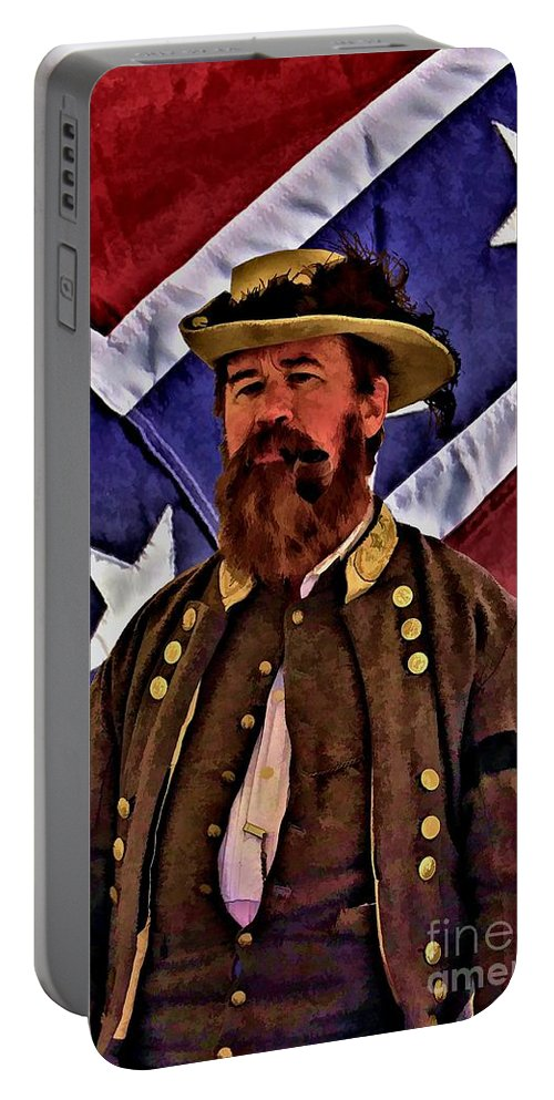 Civil War Portable Battery Charger featuring the digital art General Jeb Stuart Of Vmi by Tommy Anderson