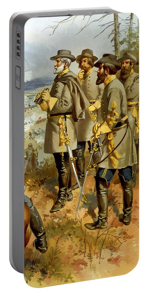 Civil War Portable Battery Charger featuring the painting General Lee At The Battle Of Fredericksburg by War Is Hell Store