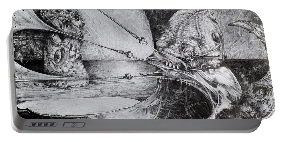 Surrealism Portable Battery Charger featuring the drawing General Peckerwood In Purgatory by Otto Rapp