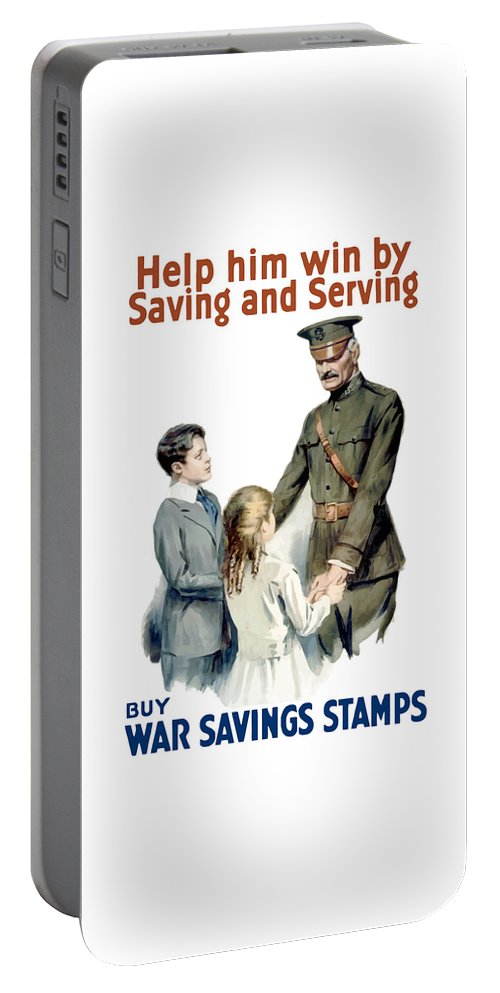 General Pershing Portable Battery Charger featuring the painting General Pershing - Buy War Saving Stamps by War Is Hell Store
