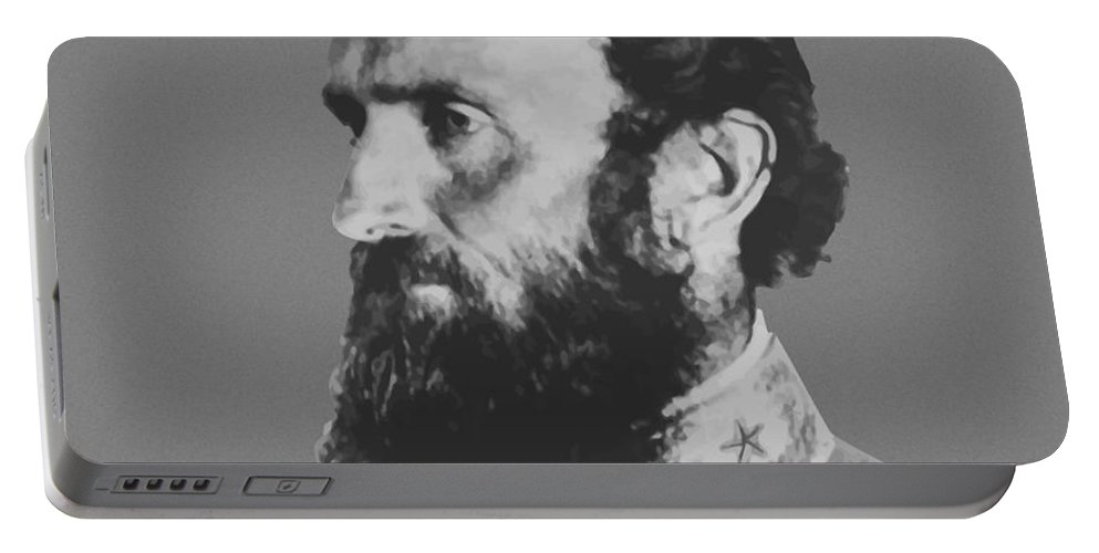 Stonewall Jackson Portable Battery Charger featuring the painting General Stonewall Jackson Profile by War Is Hell Store