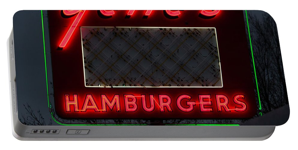 Gene's Portable Battery Charger featuring the photograph Gene's Hamburgers by Marnie Patchett